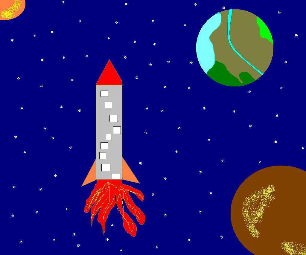 рисунки в paint 5-7 класс на тему КОСМОС - День космонавтики ...